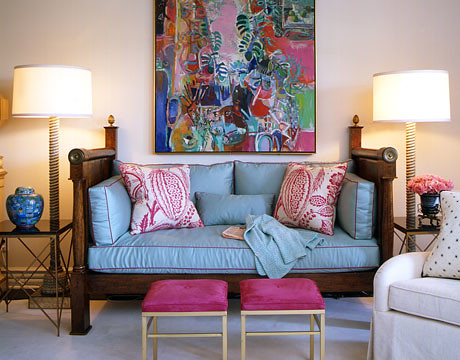 Pink Blue Living Room Retro Los Angeles Glam By Joe Nye