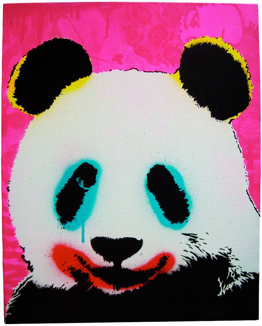 pink panda pop 50 x 40cm stenciled and freehand spraypaint flickr. Black Bedroom Furniture Sets. Home Design Ideas