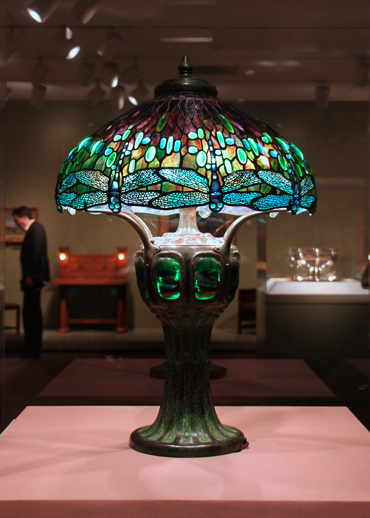 Tiffany Lamp In The Aic Hanging Head Dragonfly Shade On