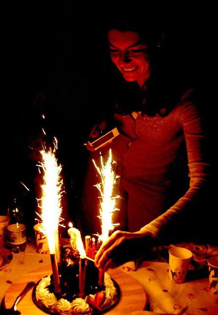 Big Birthday Cake Sparklers Arranged On