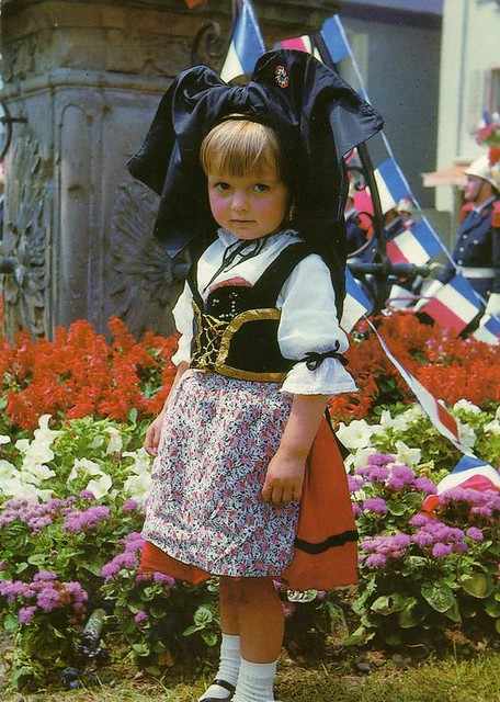 France   Alsacian girl in traditional coustumes, Alsace ...