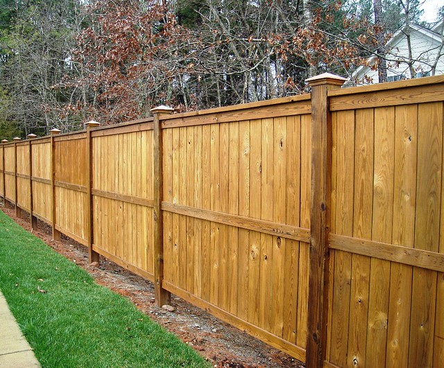 6x6 Exposed Posts Custom Stained Wood Fence Keith
