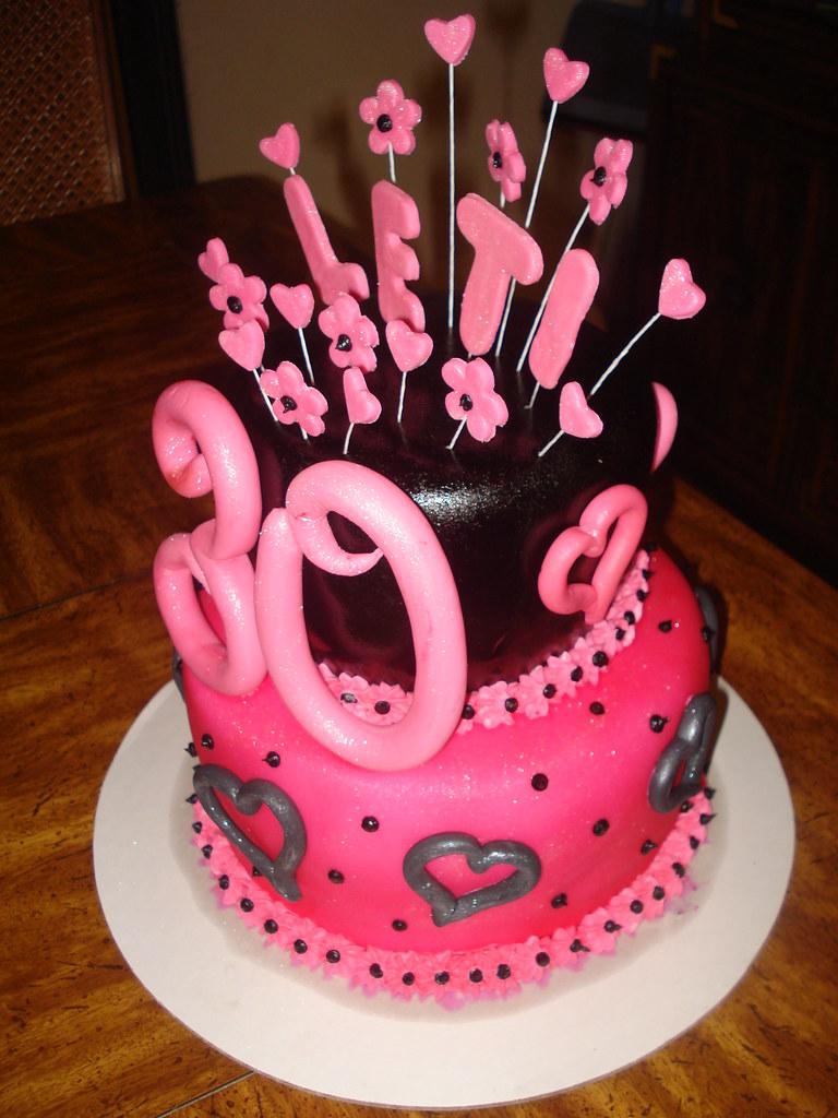 30th birthday cake 30th birthday cake, pink and black ...