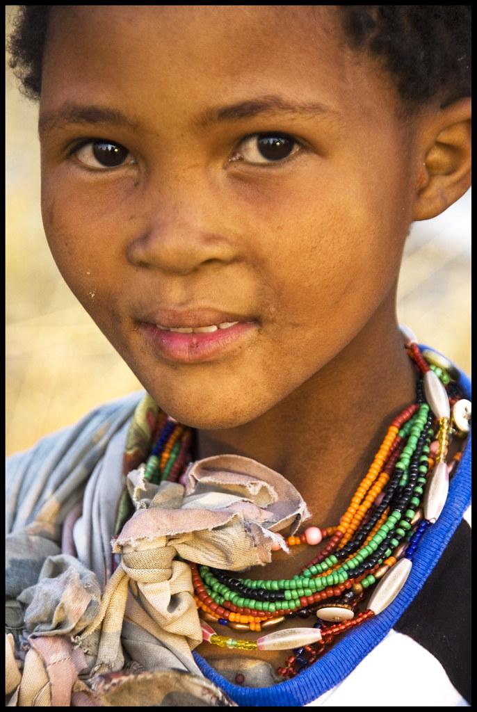 Young Bushmen Girl Kalahari Namibia The Ju Hoansi
