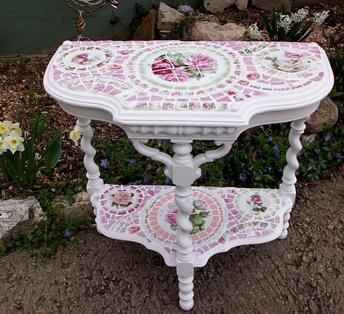 Front view pink china mosaic table | by Grindstone Mountain Mosaics