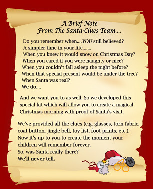 Santa Clues Letter to Parents | This was a letter the Santa ...