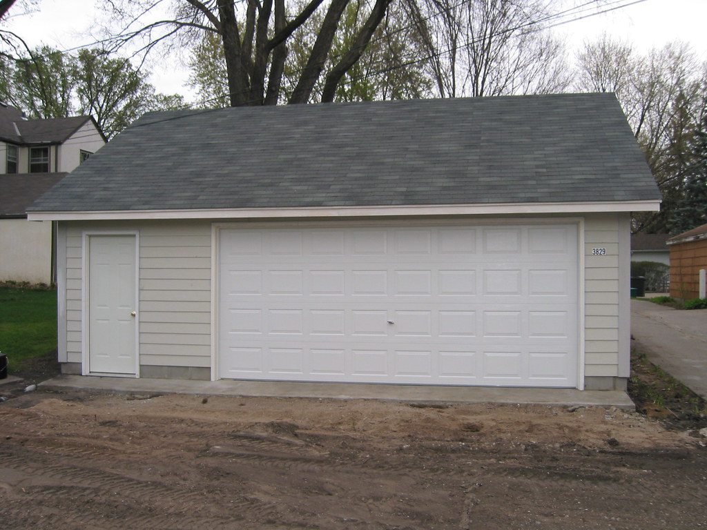 26x22 two car garage reverse gable roof minneapolis mn for Gable roof garage