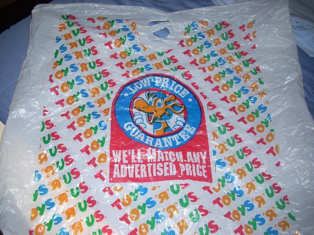 1990s toys r us plastic bag a toys r us plastic bag from t flickr. Black Bedroom Furniture Sets. Home Design Ideas