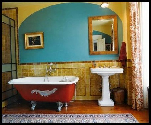 Colorful bathroom red tub turquoise gold like your ow flickr for Colourful bathroom accessories