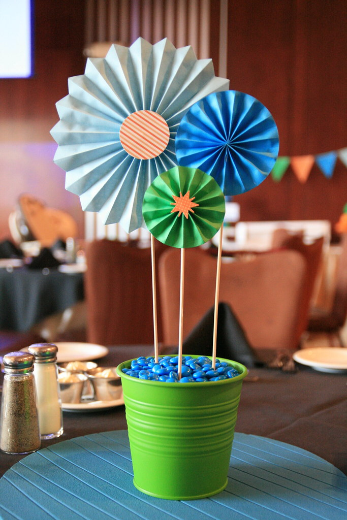 Connor s st birthday centerpieces with paper rosettes