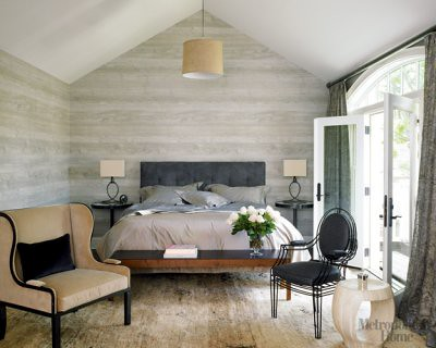 Modern Neutral Gray Bedroom Faux Bois Wallpaper From