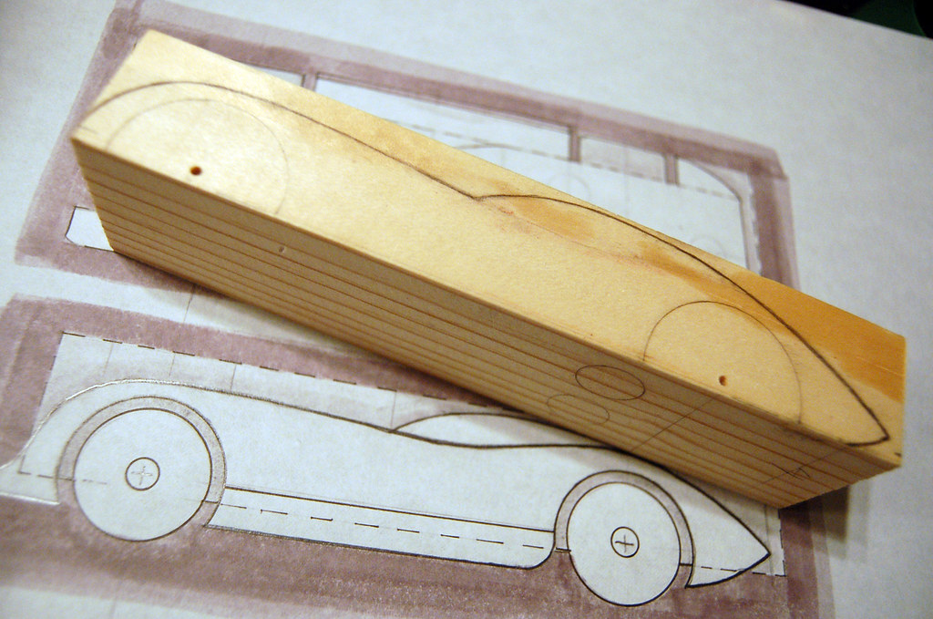 2009 pinewood derby car 1 step 2 tracing the sketch on for Boy scout derby car templates