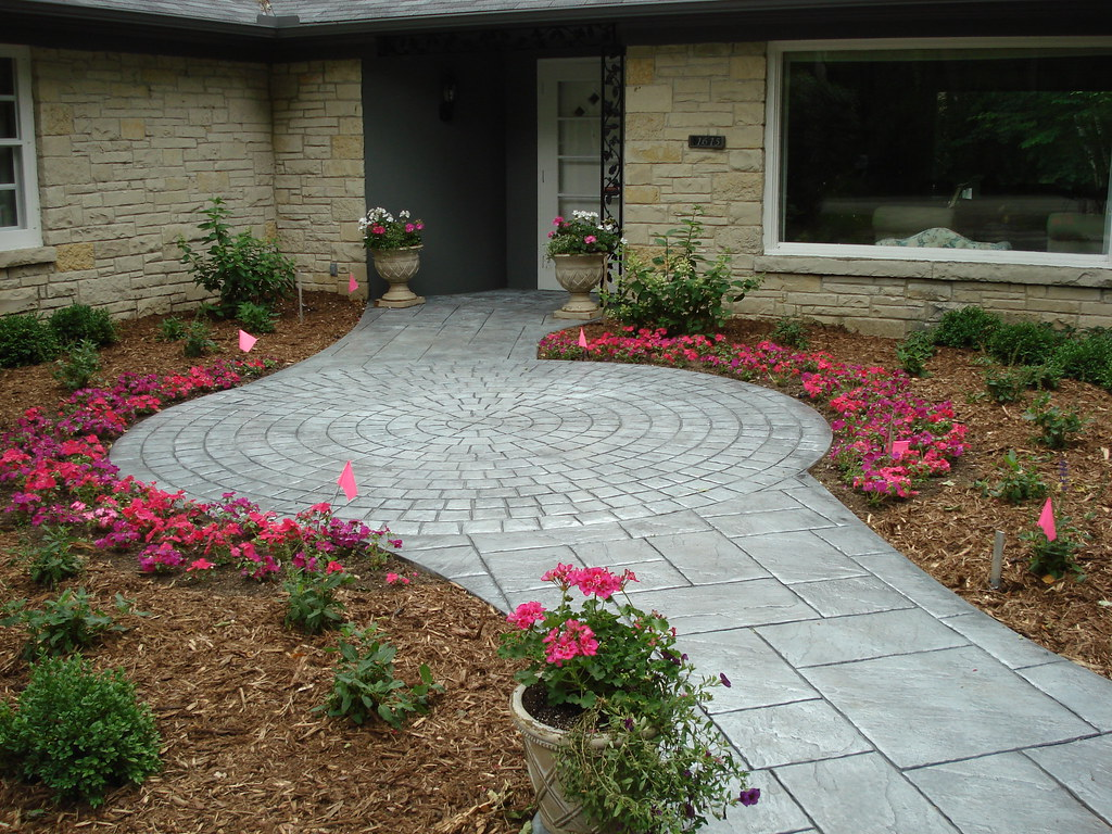 Concrete Front Walk : Residential concrete stamped front entry