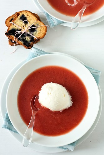 Plum Watermelon Soup With Lemon Balm Ice Cream and Toasted Blueberry Pound Cake | by tartelette