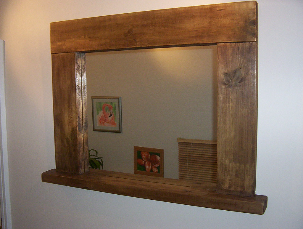 bathroom mirror frames chunky rustic mirror with shelf 100x80cm overall frame 28421