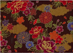 japanese fabric. multifloral on dark brown | by chico945