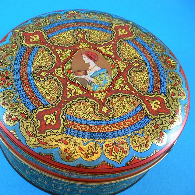 Colourful Fruit Cake: Colorful Vintage Art Deco Style Fruit Cake Tin