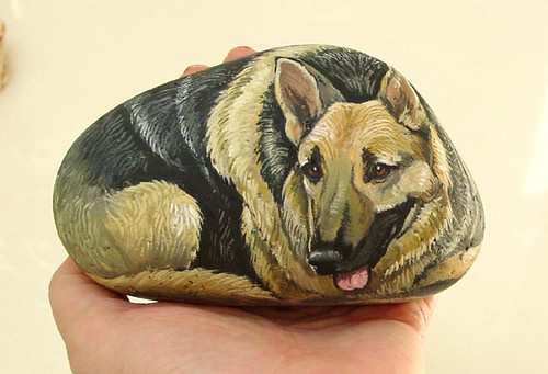 Hand Painted Rock German Shepherd Alika Kalaida Flickr