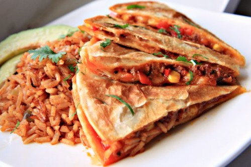 Chorizo, Corn and Red Pepper Quesadillas Header | by The Noshery