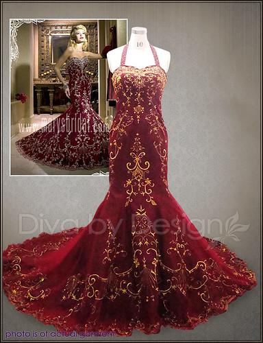 Antique wedding dresses ivory gold bridal gowns red dress for Gold vintage wedding dresses