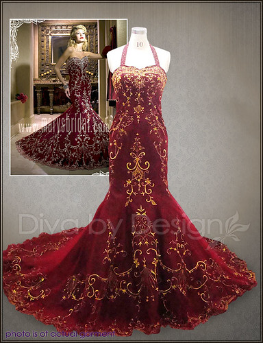 Antique wedding dresses ivory gold bridal gowns red dress for Red and gold wedding dress