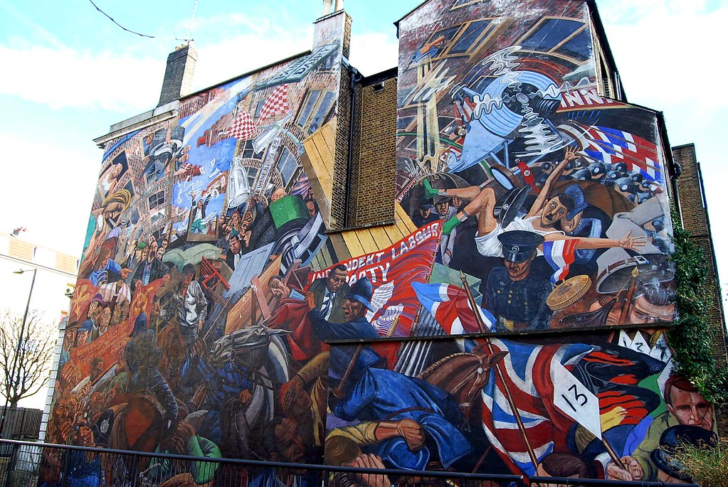 Battle of cable street mural library place off cable for Cable street mural