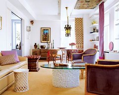 Colorful + eclectic: Beautiful global chic living room, from Elle Decor | by SarahKaron