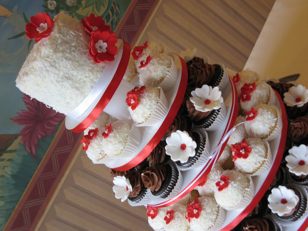 Red white and chocolate wedding cupcake tower
