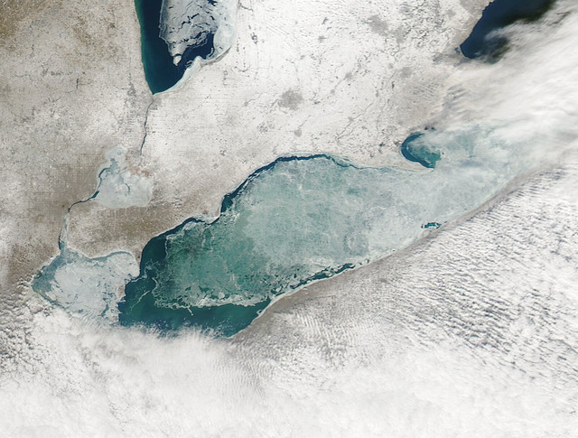 MODIS image of Lake Erie ice cover - 149.1KB