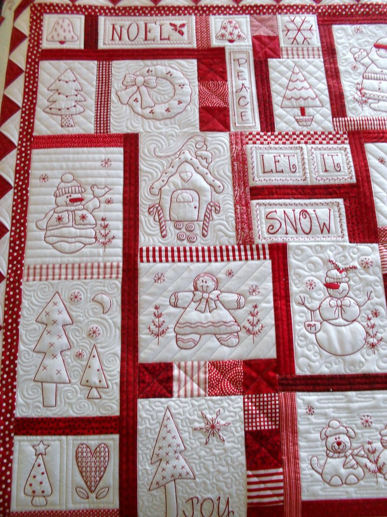 Redwork Quilt Patterns Christmas : Redwork Pieced by Audrey Hill Quilted by Jessica s ...