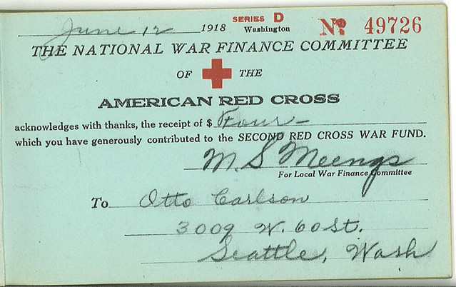 Receipt For World War I Red Cross Donation 1918