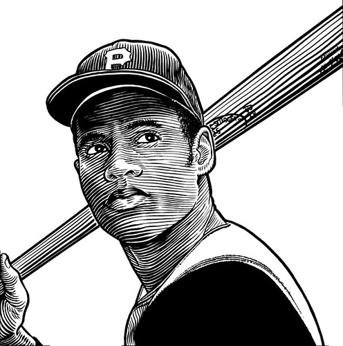 Roberto clemente ink on mylar acorn60 flickr for Roberto clemente coloring page