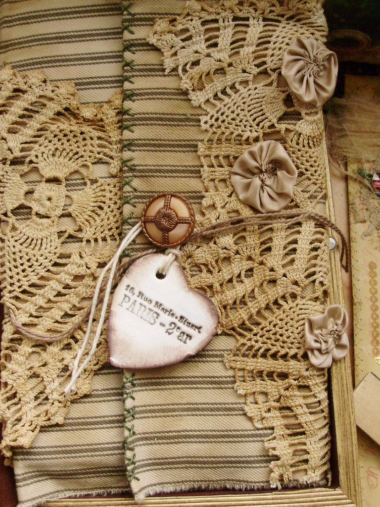 Crochet Lace Book Cover : Journal with ticking old lace and make a great