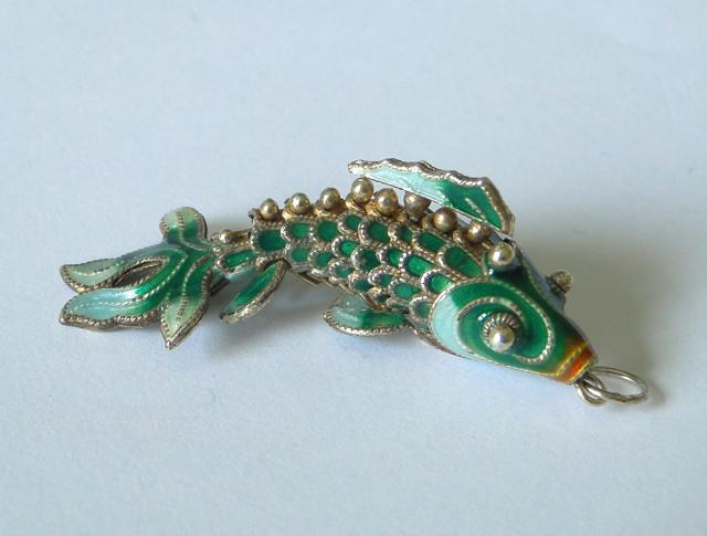 Vintage chinese green enamel koi fish pendant for Green koi fish