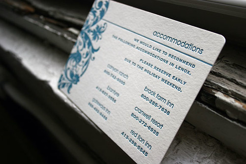 Letterpress Accommodation Card For Wedding Invitation Suit