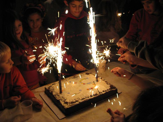 Sparklers And Big Birthday Cake