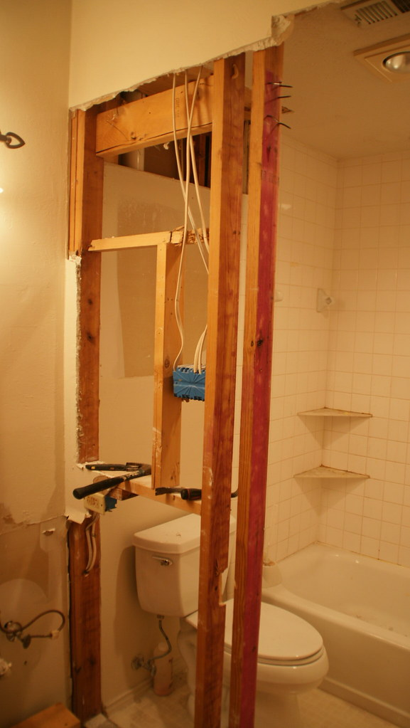 Day 3 diy bathroom remodel the wall is coming down we for 2 day bathroom remodel