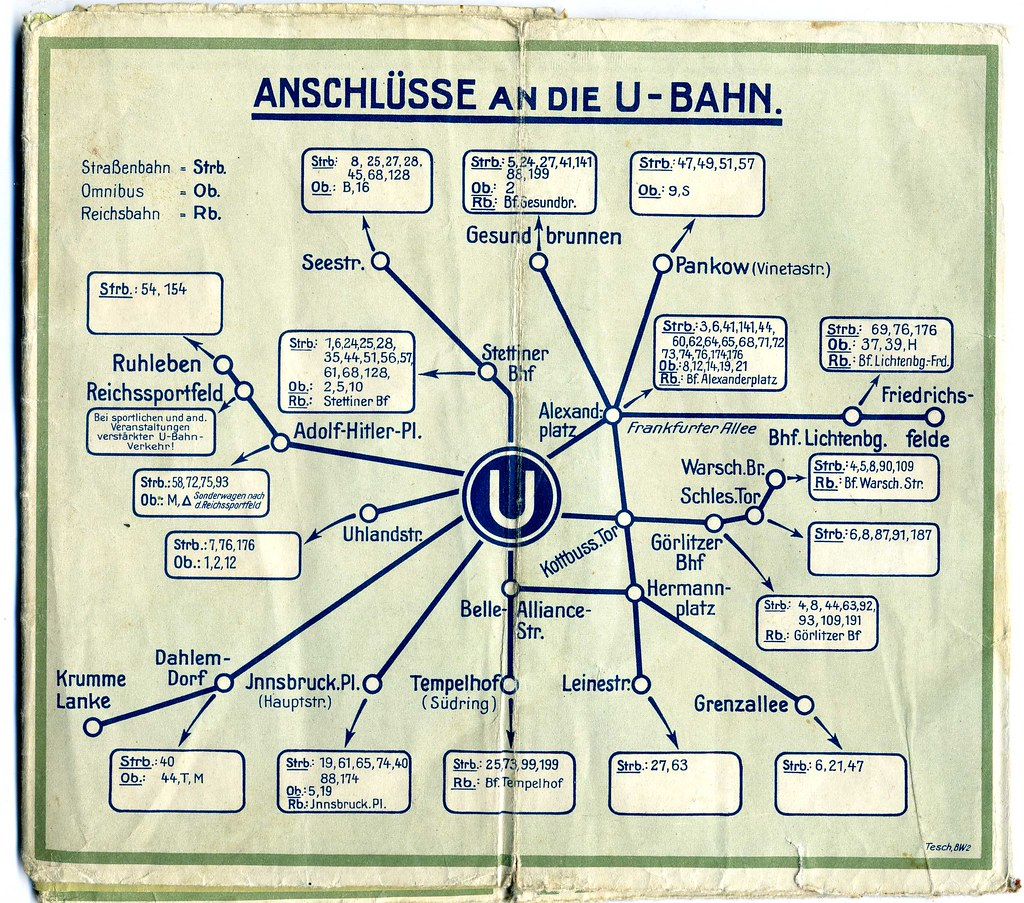 Berlin U Bahn Connections Late 1930s Map Verkehrskarte