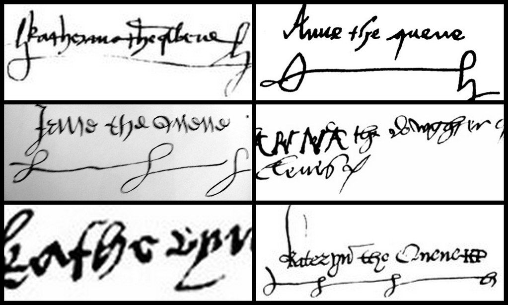 Six wives signatures the signature 39 s of the six wives of for Tudor signatures