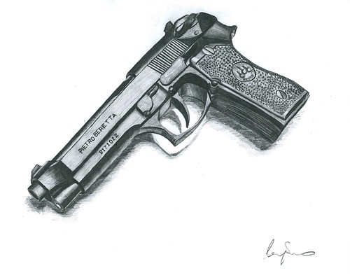 Gun Pencil Drawings Pencil Drawing | by Lenny