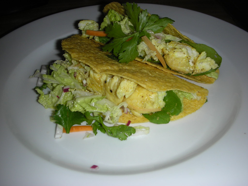 Halibut fish tacos with napa cabbage slaw i made a for Halibut fish tacos