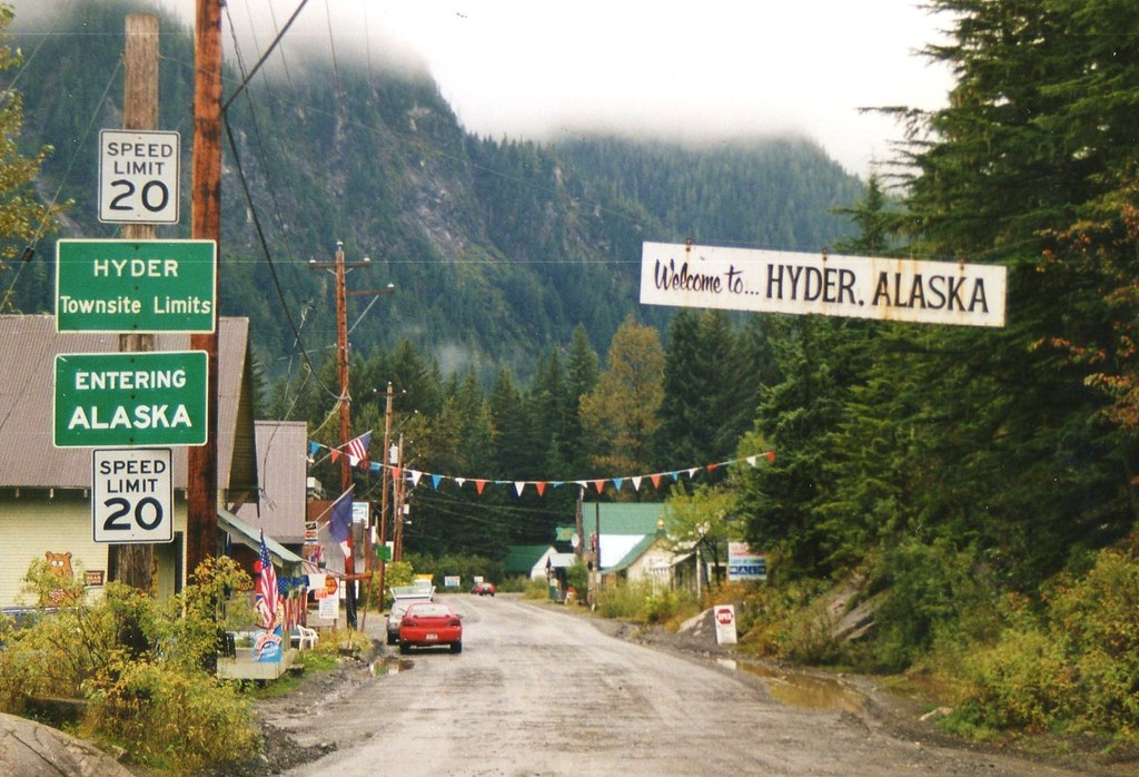Entering Hyder Alaska U S from Stewart B C Canada Flickr