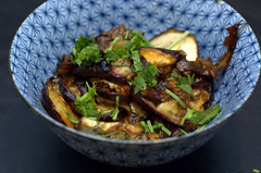 pomegranate molasses glazed eggplant | by sassyradish