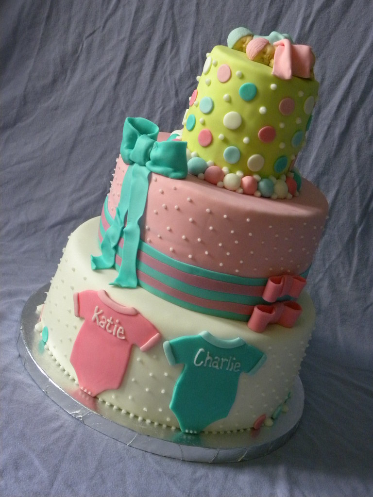 TWINS BABY SHOWER 3-tier Baby Shower Cake for twins ...