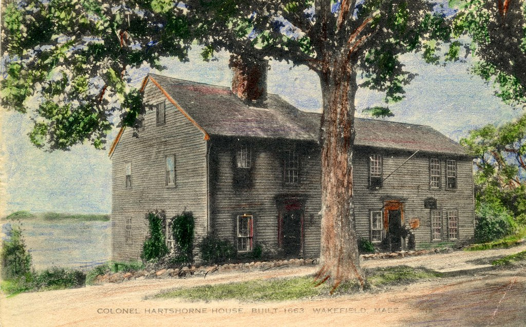 Hartshorne house wakefield ma colorized postcard of for Wakefield house