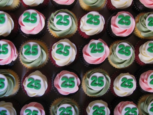 TD Waterhouse 25th Anniversary Cupcakes | Part of a 12 ... Chocolate Cupcake With Cream Cheese Frosting