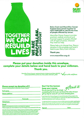 Dairy Crest Donation Envelope For Macmillan Flickr