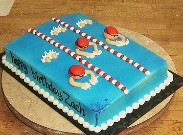 Swimming Cake Sheet Cake With Swimming Lanes And Swimmers Flickr