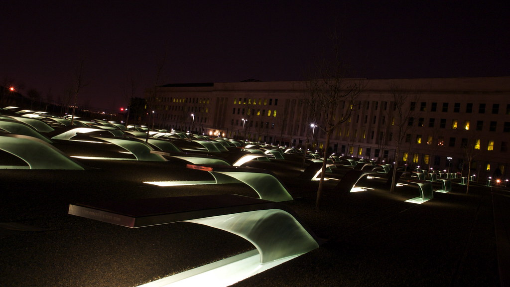 Pentagon memorial pentagon memorial by night for Www gardner com