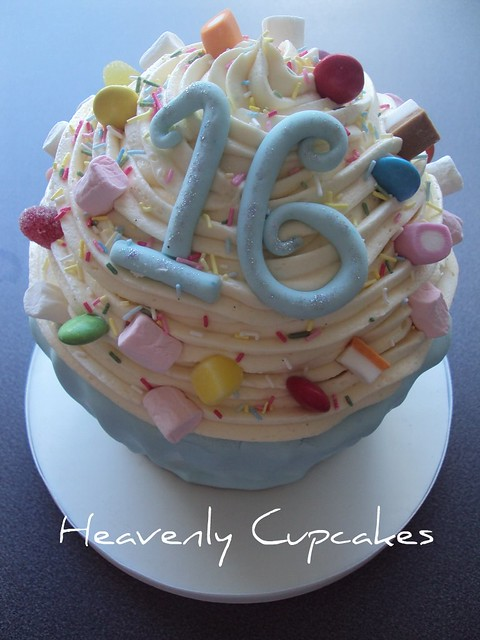Cupcake Decorating Ideas For Sweet 16 : Sweet 16 Giant Birthday Cupcake 3 Heavenly Cupcakes ...